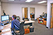 Modern office environment and friendly customer service.